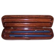 Asian Souvenir Rosewood and Faux Abalone Pen & Pencil Set