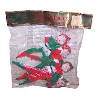 4 Vintage Made in Japan Christmas Elf Ornaments in Original Package