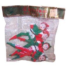 4 Vintage Made in Japan Elf Ornaments