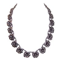 Sterling Silver Link Necklace of Florals