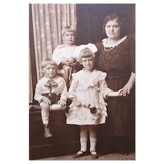 C.1910 B&W Photo of Mother and 3 Children in Sunday Best