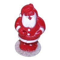Vintage Rosbro Hard Plastic Santa Claus Holding Sucker/Lollipop Candy Container Decoration