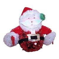 Vintage Handmade Santa Claus Christmas Sequin Felt Ornament