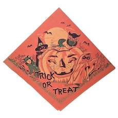 Unused 1960s Halloween Paper Napkin - Trick or Treat Children - Pumpkin Witch Ghost Owl