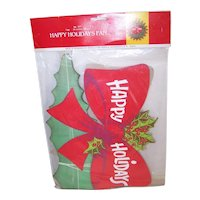 Perola Vintage Happy Holidays Christmas Honeycomb Fan Decoration in Original Unopened Package Made in Denmark