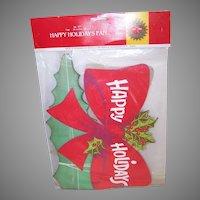 Retro Modern Happy Holidays Christmas Honeycomb Fan