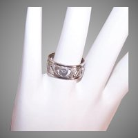 Uncas Sterling Silver Cigar Band with Hearts