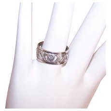 Uncas Sterling Silver Hearts Ring Cigar Band Ring - Cutwork Design