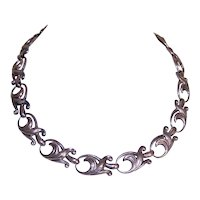Sterling Silver Curlicue Link Necklace - Mexican - Made in Mexico
