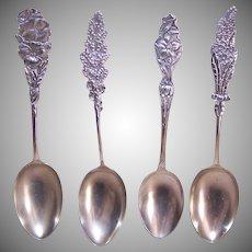 4 Floral Sterling Silver Teaspoons