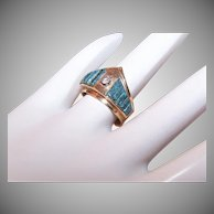 Tim Bedah 14K Gold Turquoise Diamond Ring