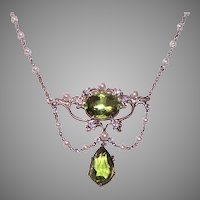 Antique Edwardian Platinum 18K Gold 8.12CT TW Diamond Peridot Festoon Necklace