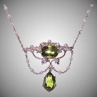 Antique Platinum Diamond Peridot Necklace