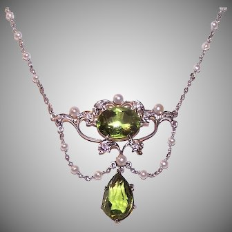 Antique Platinum Diamond Peridot Necklace