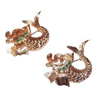Pair Estate 14K Gold Chrysoprase Dolphin Pins by Scalle
