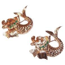 Pair Estate 14K Gold Chrysoprase Dolphin Pins