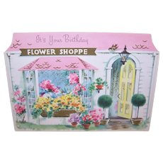 1960s Happy Birthday Greet Card - Flower Shoppe Florals Theme