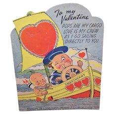 C.1930 E Rosen Co Unused Valentines Day Card for Sugar Pop - Sucker - Lollipop