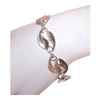 Beau Sterling Silver Double Leaf Link Bracelet
