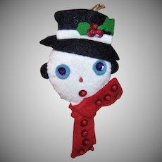 Handmade Felt Snowman Ornament