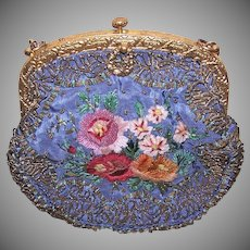 French Gilt Metal Chenille Floral Purse