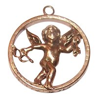 Victorian Revival 14K Gold Charm - Cupid with Bow & Arrow - Putti Angel Charm