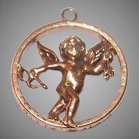 Vintage 14K Gold Cupid Charm
