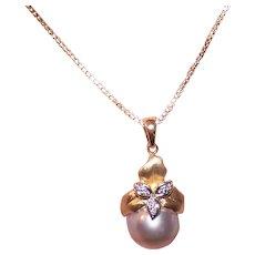 14K Gold Diamond Tahitian Pearl Pendant