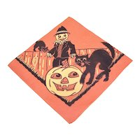 1960s Halloween Orange Black Paper Napkin - Black Cat Scarecrow and Lots of Pumpkins
