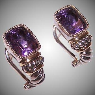 EFFY Balissima Sterling Silver 18K Gold Amethyst Earrings