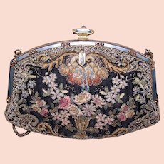 French Gilt Metal Enamel Chenille Floral Purse