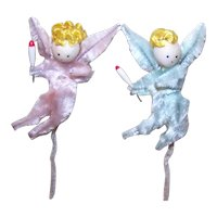 2 Vintage Made in Japan Chenille Package Ties - Baby PInk & Baby Blue Angels with Candles