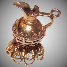 Retro 14K Gold Vase Charm