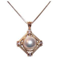 14K Gold Mabe Pearl Diamond Pendant
