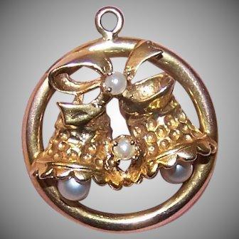 14K Gold Pearl Christmas Wedding Bells Charm