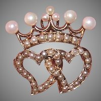 14K Gold Pearl Crown Double Heart Pendant Pin