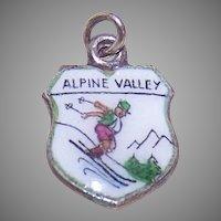 Vintage Sterling Silver Travel Shield Charm - Alpine Valley