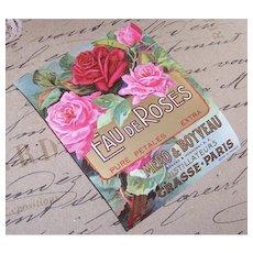 Antique French Eau de Roses Perfume Label