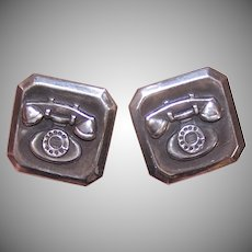 Sterling Silver Bell Telephone Cufflinks