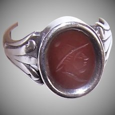 Sterling Carnelian Cameo Ring