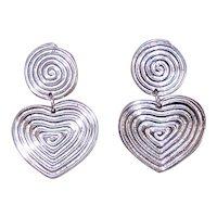 Sterling Silver Heart Drop Earrings