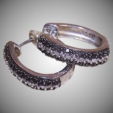 Sterling Black White Diamond Hoops