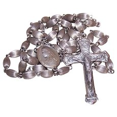 Sterling Fluted Oat Bead Rosary
