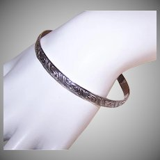 Retro Jewel Art Sterling Bangle