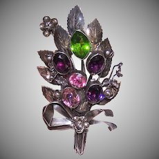 Hobe Sterling Silver Floral Bouquet Pin