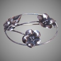 Modernist Sterling Floral Pin
