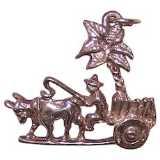 Sterling Silver Charm Man Driving Cattle Cart