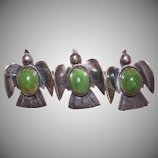 Mexico Sterling Green Onyx Doves Pin