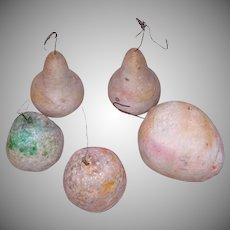 5 Spun Cotton Christmas Fruit Ornaments