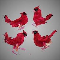 4 Vintage Chenille Cardinals
